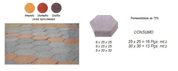 Piso Intertravado De Concreto Sextavado bloquete  R 22