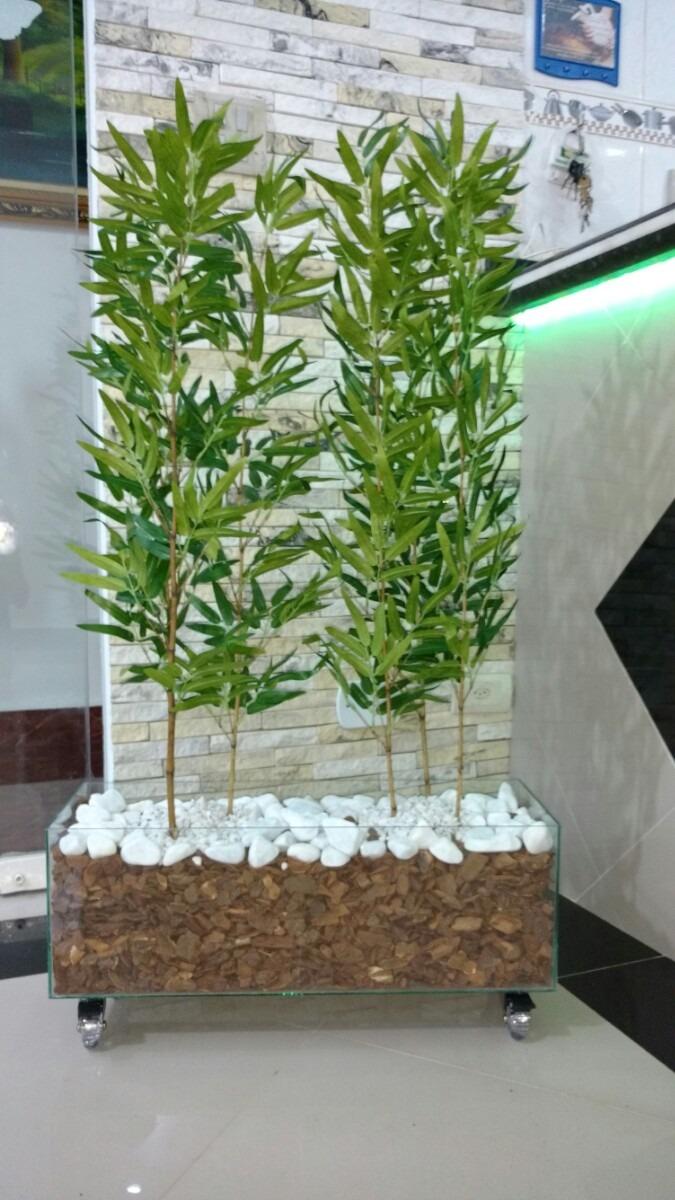 Planta Artificial Bambu Reto Cachepo E Rodinhas  R 599
