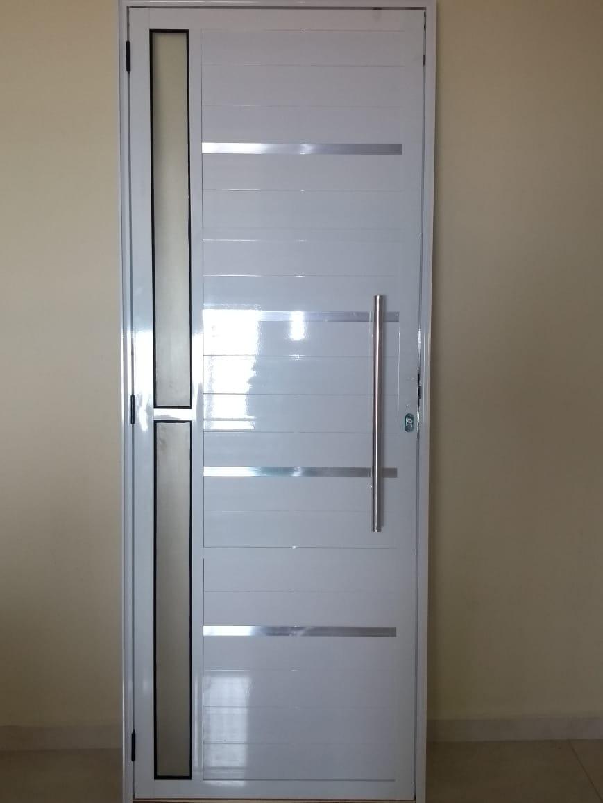 Porta Lambril Alumnio Cpuxador Branca 210x80 Cvidro L