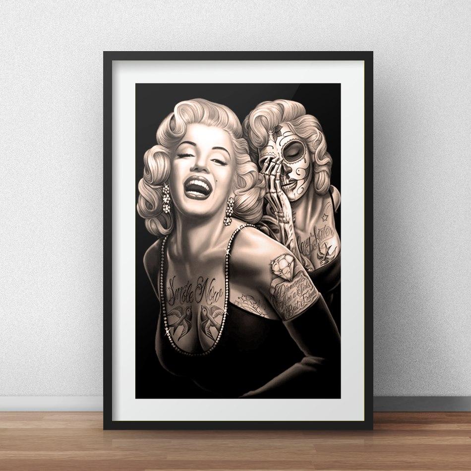 Quadro Marilyn Monroe Tatuagem Caveira R4 Decoracao Paspatur  R 19900 em Mercado Livre