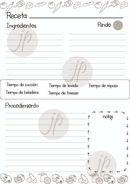 Recetario De Cocina Para Imprimir  Pdf   10000 en