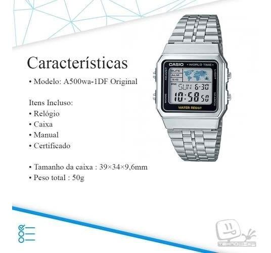 Relogio Casio Vintage Retro A500wa-1df A500 Prata Original