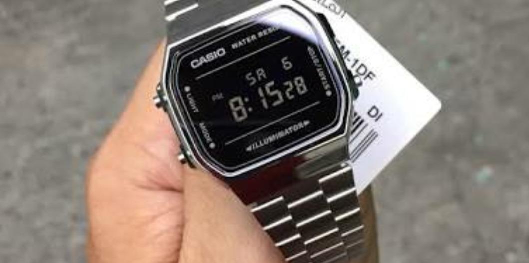 Reloj Casio A168 Vintage Plata Caratula Negro Espejo