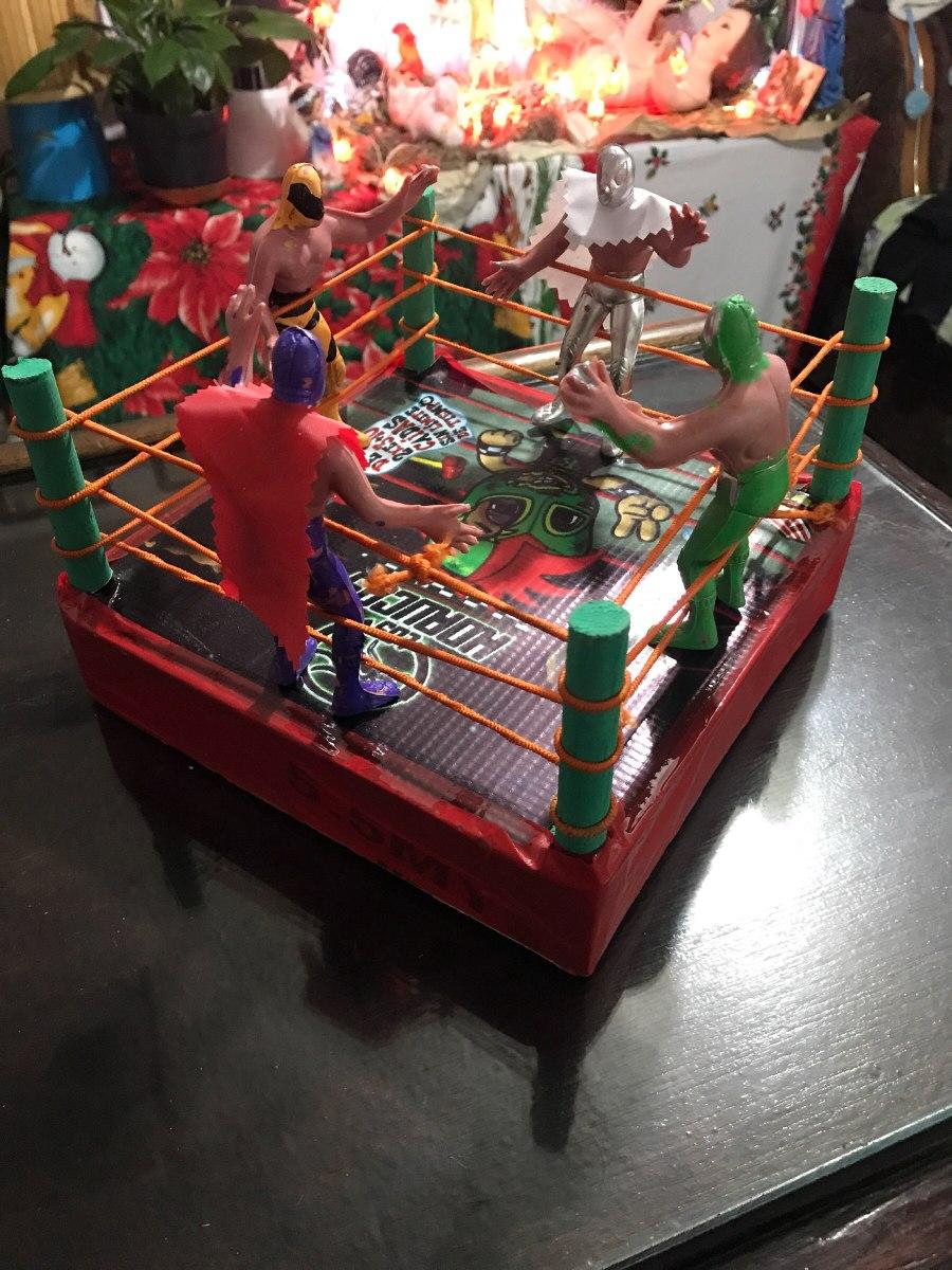 Ring Lucha Libre Juguete Madera Con 4 Luchadores   100