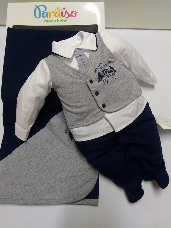 Saida De Maternidade Paraiso Bebê Menino Gravata Cod 7555 - R$ 159.99 em Mercado Livre