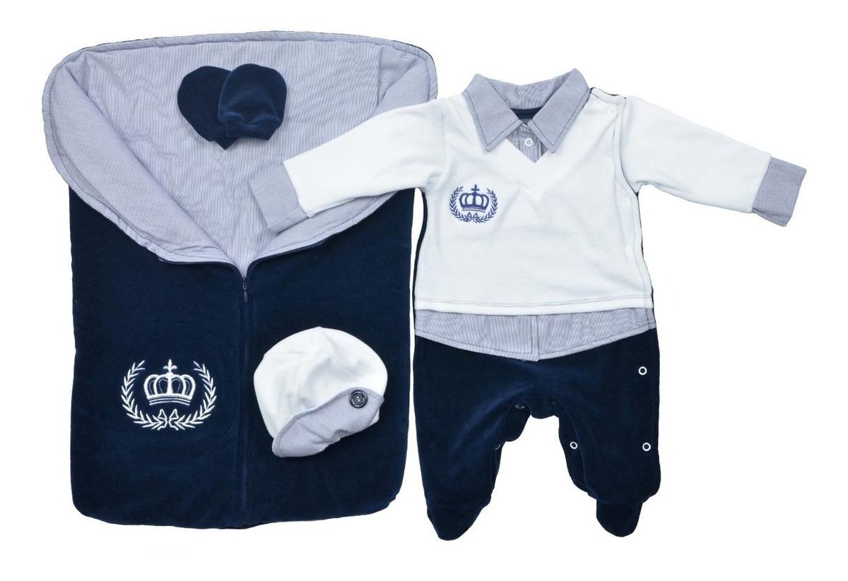 Saída Maternidade Menino Inverno Plush Imperial - 04peças - R$ 129.90 em Mercado Livre
