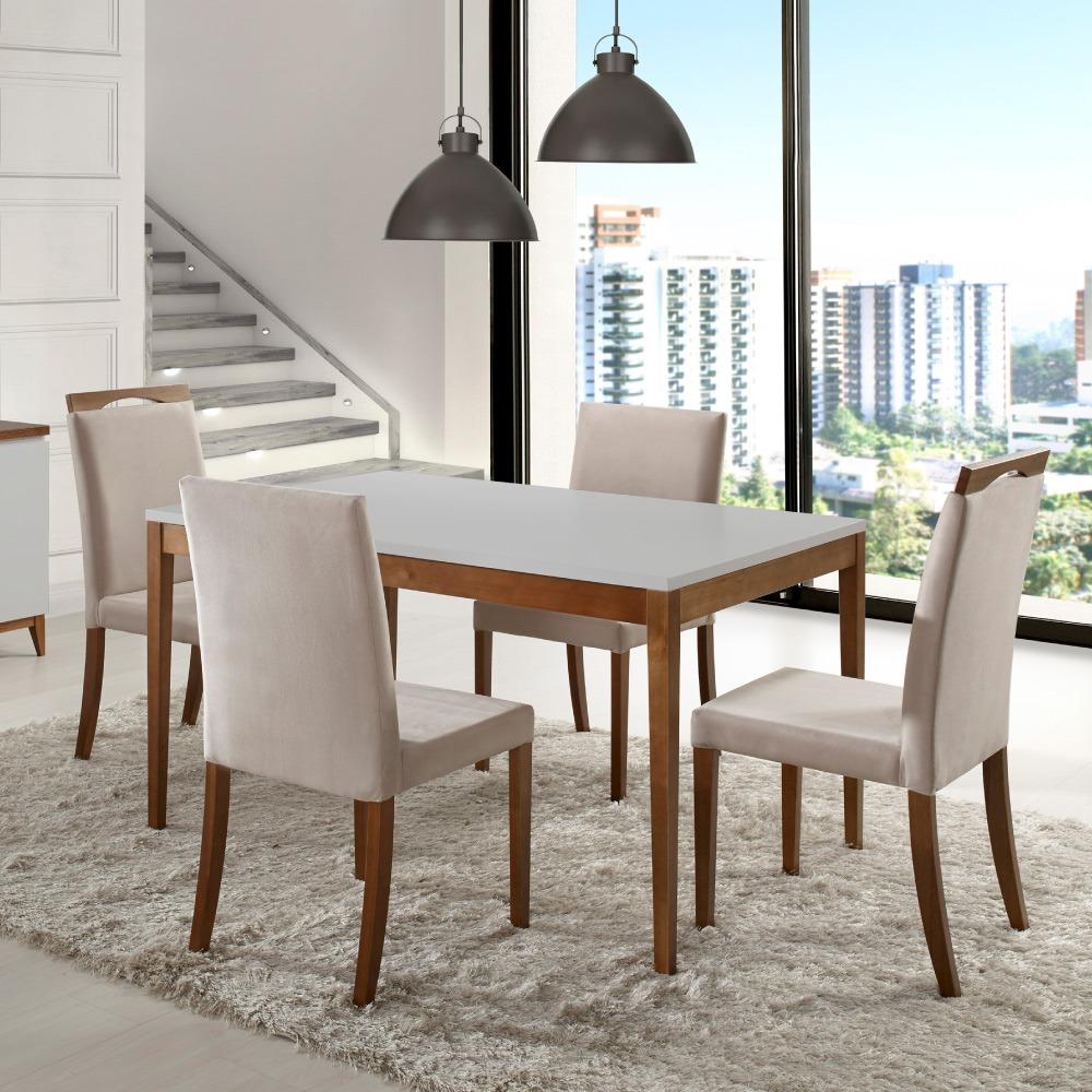 Sala De Jantar Com Mesa 135m E 4 Cadeiras Joy  Laca