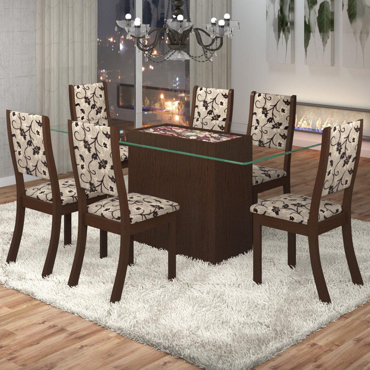 Sala De Jantar Lina 6 Cadeiras Kiara Viero Fe  R 71758
