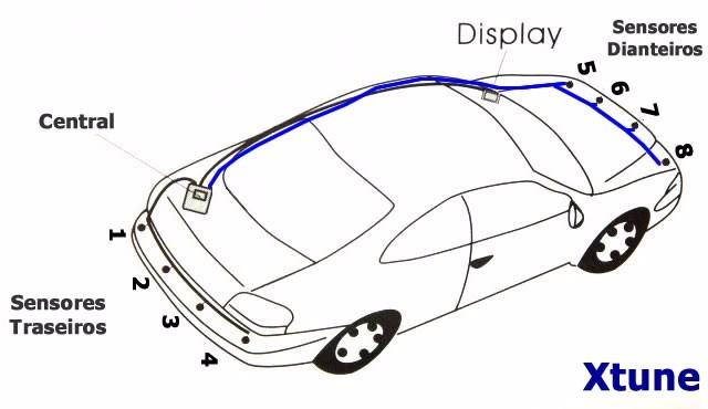 Sensor Estacionamento Dianteiro Traseiro Lcd 8 Pontos