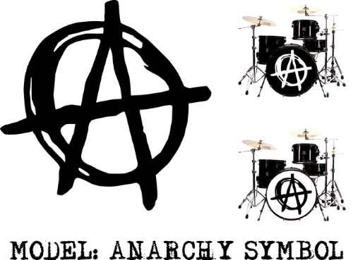 Skin Sticker Parche Batería Bombo Anarchy Symbol, Vinil