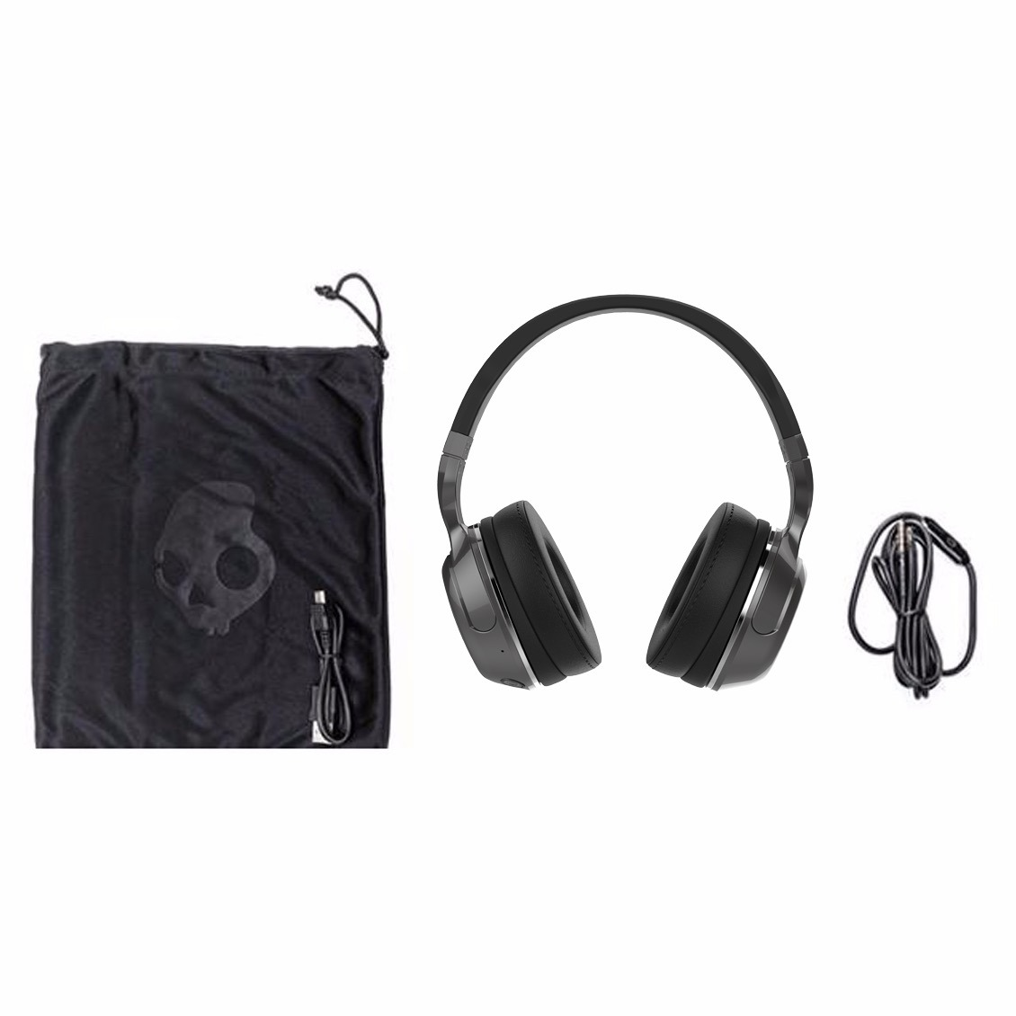 hight resolution of details about skullcandy hesh 2 over ear dj style stereo headphones w wired mic black silver