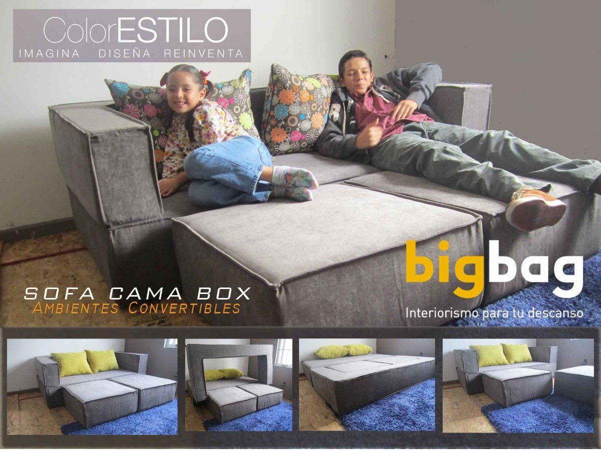 sofa cama individual mexico df della sectional with storage ottoman bigbag 8 524 00 en mercado libre