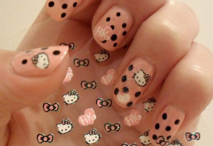 Stickercalcomaníaesténcil Uñas Manicure Hello Kitty Kawaii