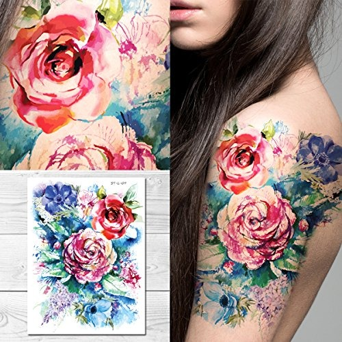 Supperb Tatuajes Temporales Pintura Acuarela Ramo Flores Ver