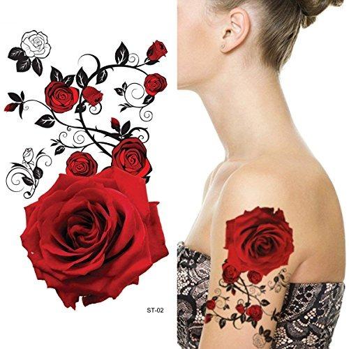 Supperb Tatuajes Temporales Rosas Rojas