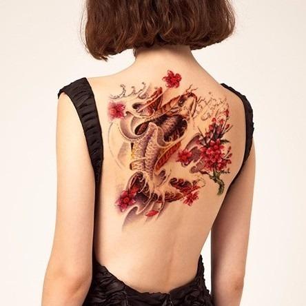 Tatuaje Temporal Grande Dama Espalda Vientre Rosas Flores S 2222