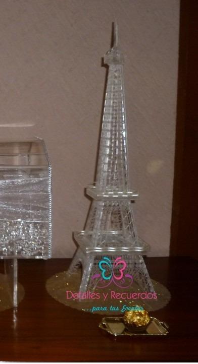 Torre Eiffel Acrilico Centro Mesa Despedida Soltera Boda 50c   74900 en Mercado Libre