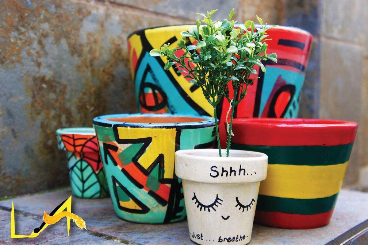 Vasos De Barro Pintados A Mano  R 2500 em Mercado Livre
