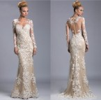 Champagne Lace Long Sleeve Prom Dress