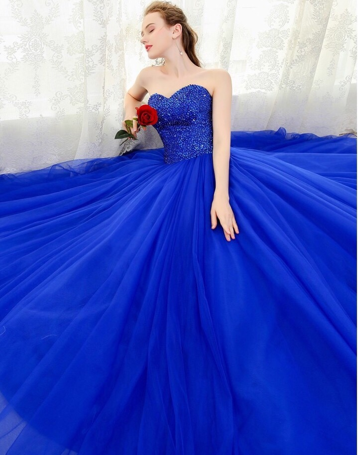 Vestido azul rey 15