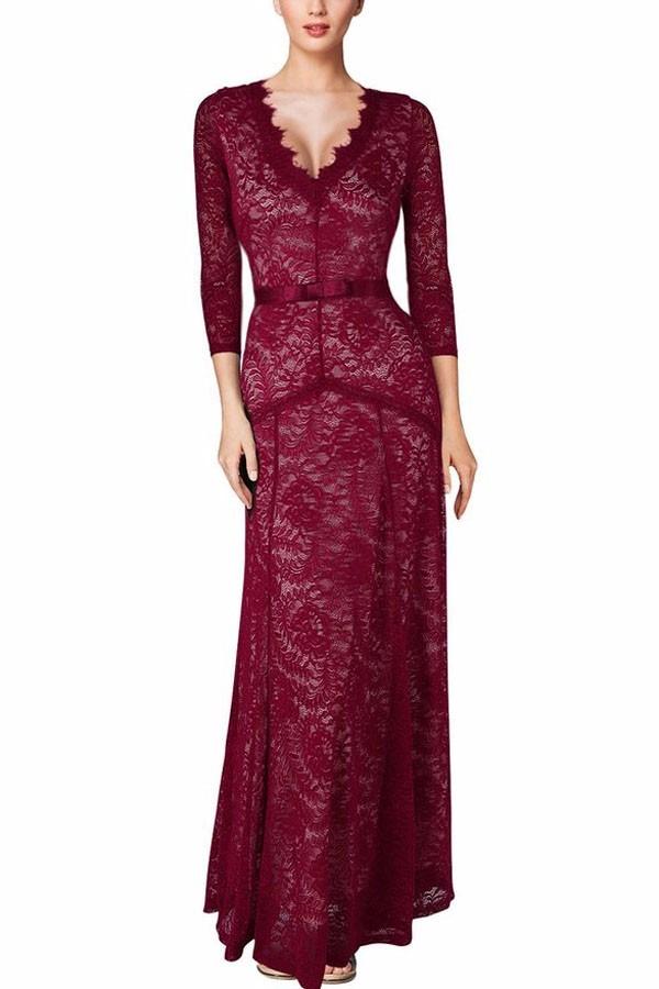 d0f048ce3ad Vestido Encaje Largo Color Vino Muy Elegante Ideal Fiestas