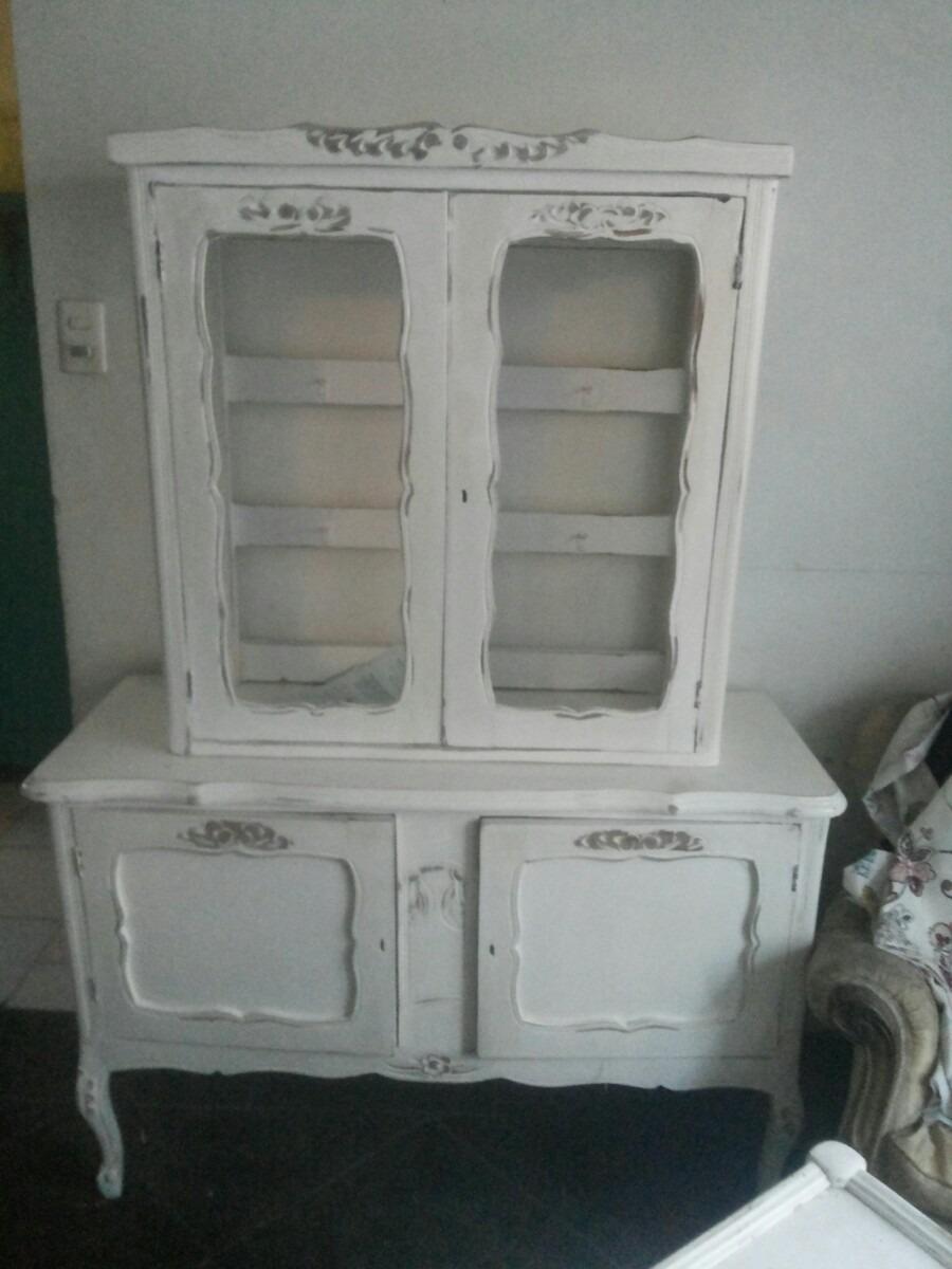 Vitrina Normando Antigua Vintage Blanco Desgastado   450