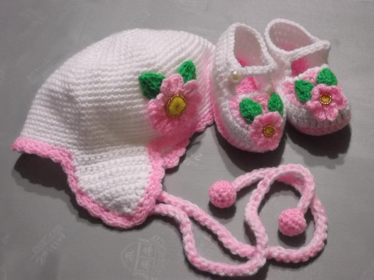 Zapatitos Y Gorritos En Juego Tejidos A Crochet Para Bebe