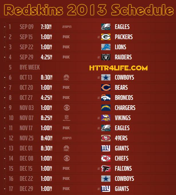 Redskins 2013 Schedule Announced