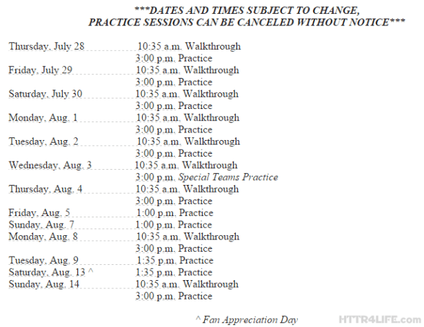 Redskins Release Training Camp Schedule