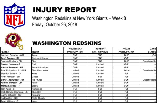 Redskins vs Giants Week 8