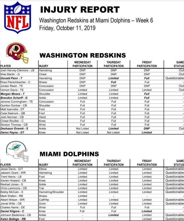 Redskins vs Dolphins Week 6