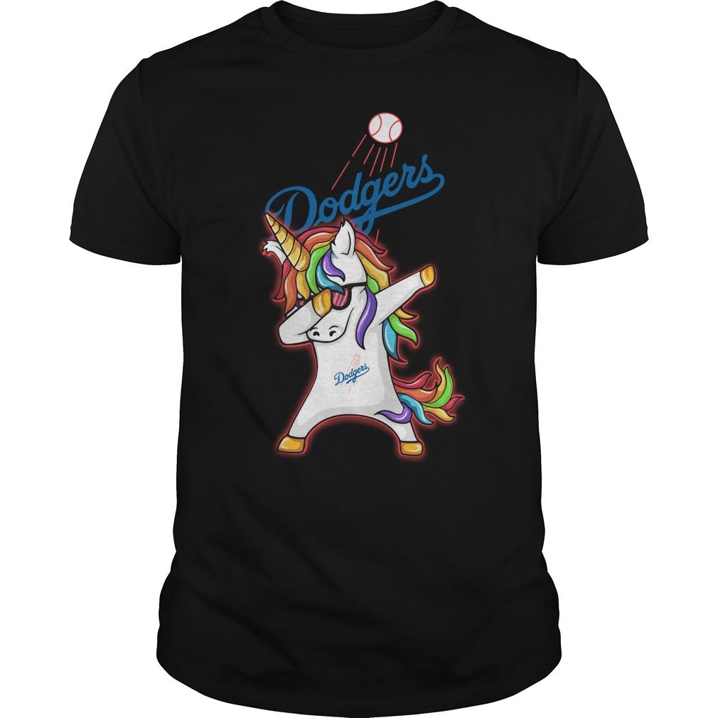 Unicorn dabbing Los Angeles Dodgers baseball shirt