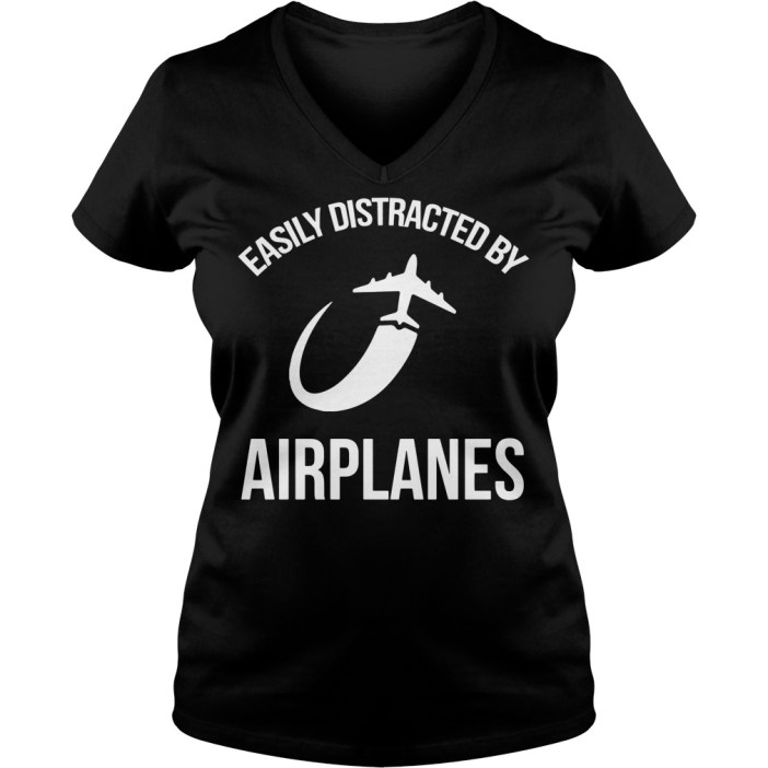 Easily distracted by airplanes V-neck t-shirt