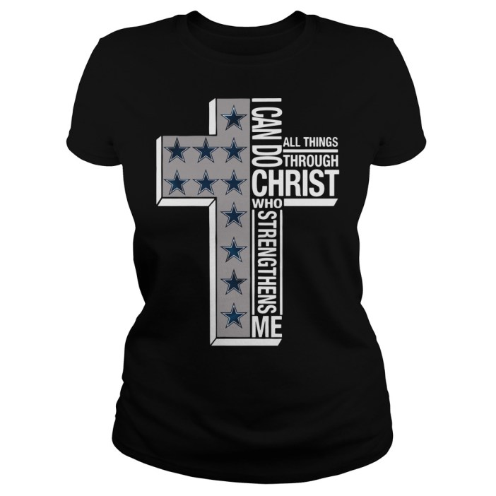 Dallas Cowboys I can do all things through Christ who strengthens me cross Ladies tee