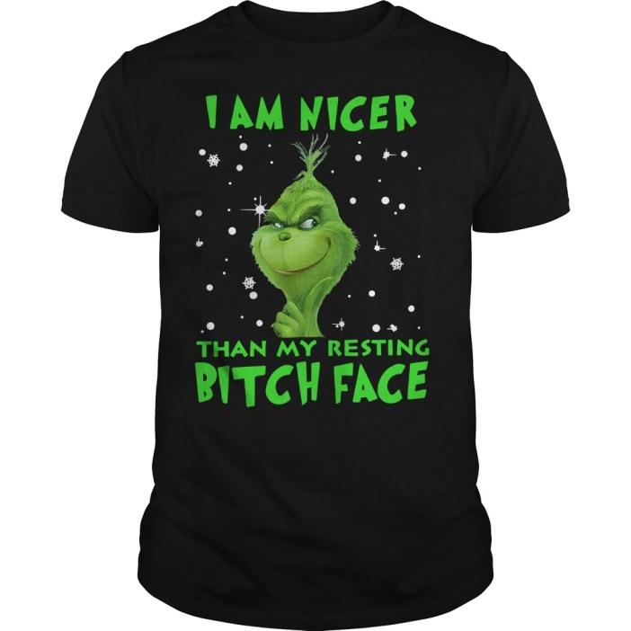 Grinch I am nicer than my resting bitch face Guys shirt
