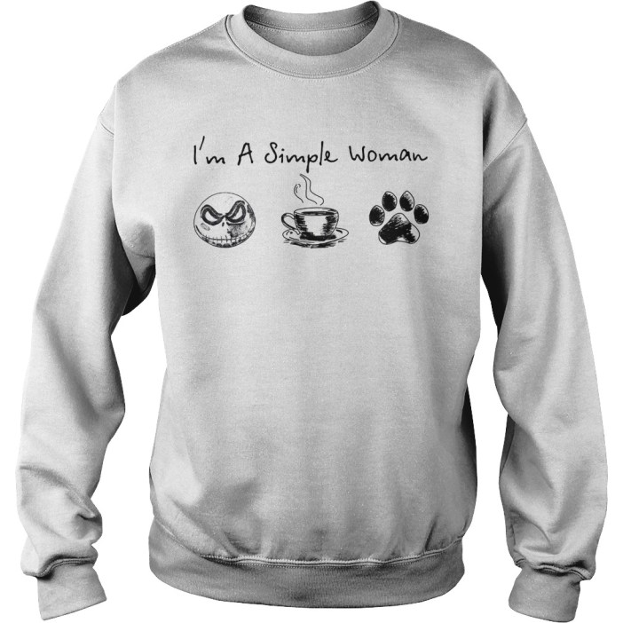 I'm a simple woman I like Jack skellington coffee and paw dog Sweater