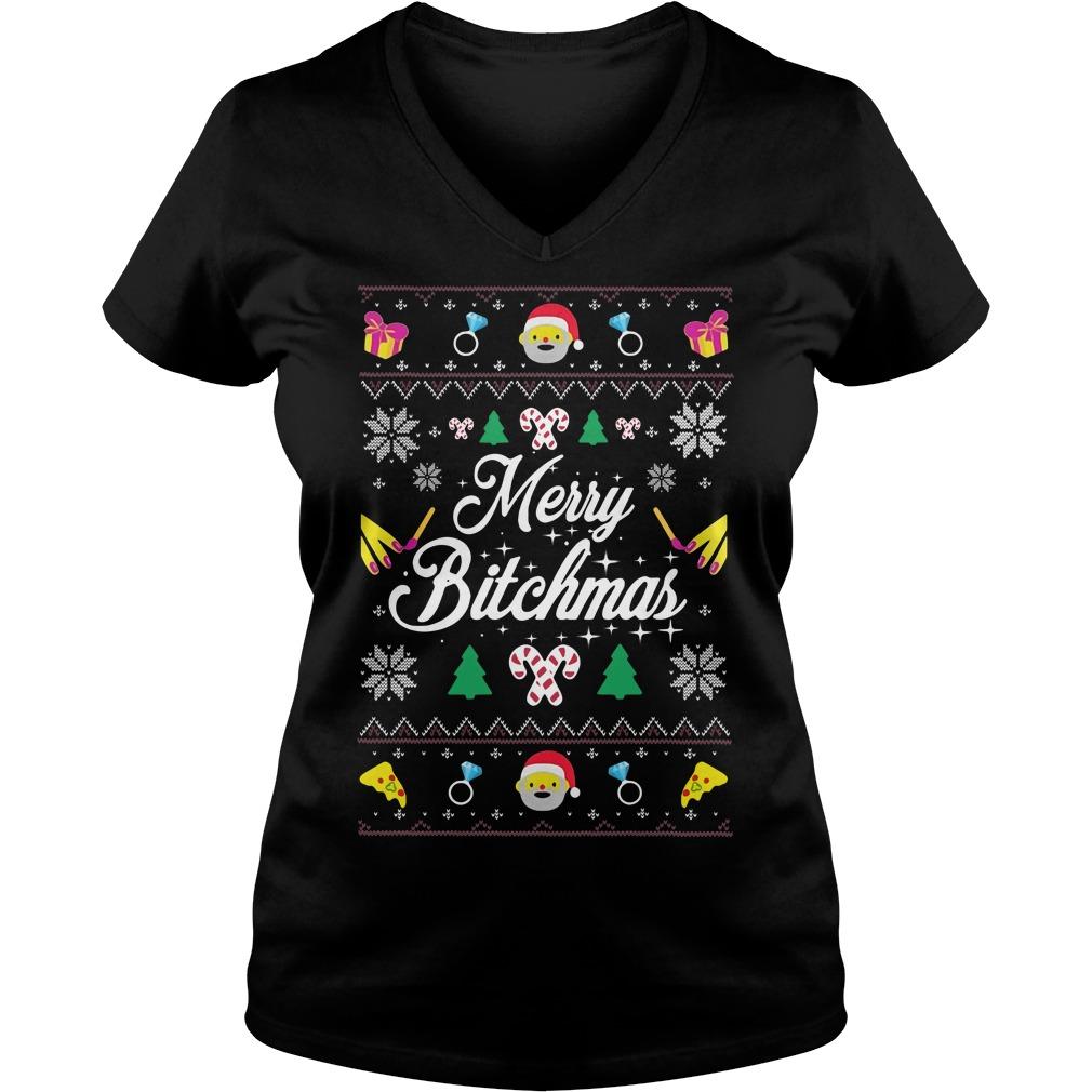 Merry Bitchmas Ugly Christmas V-neck t-shirt