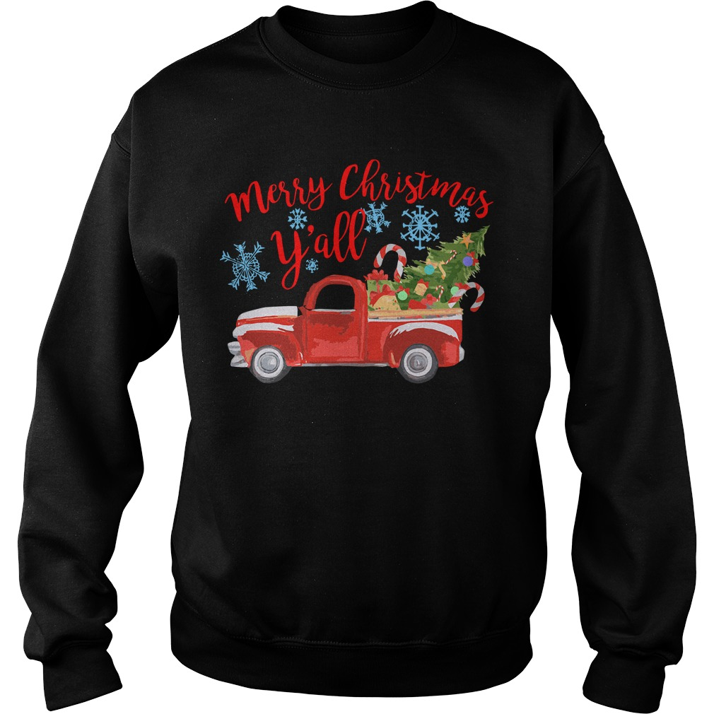 Merry Christmas y'all car red sweater