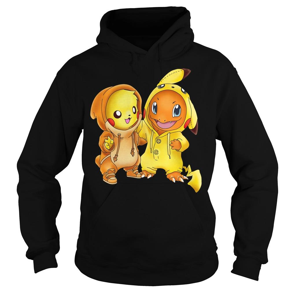 Pikachu and Pikachu Charmander pokemon Hoodie