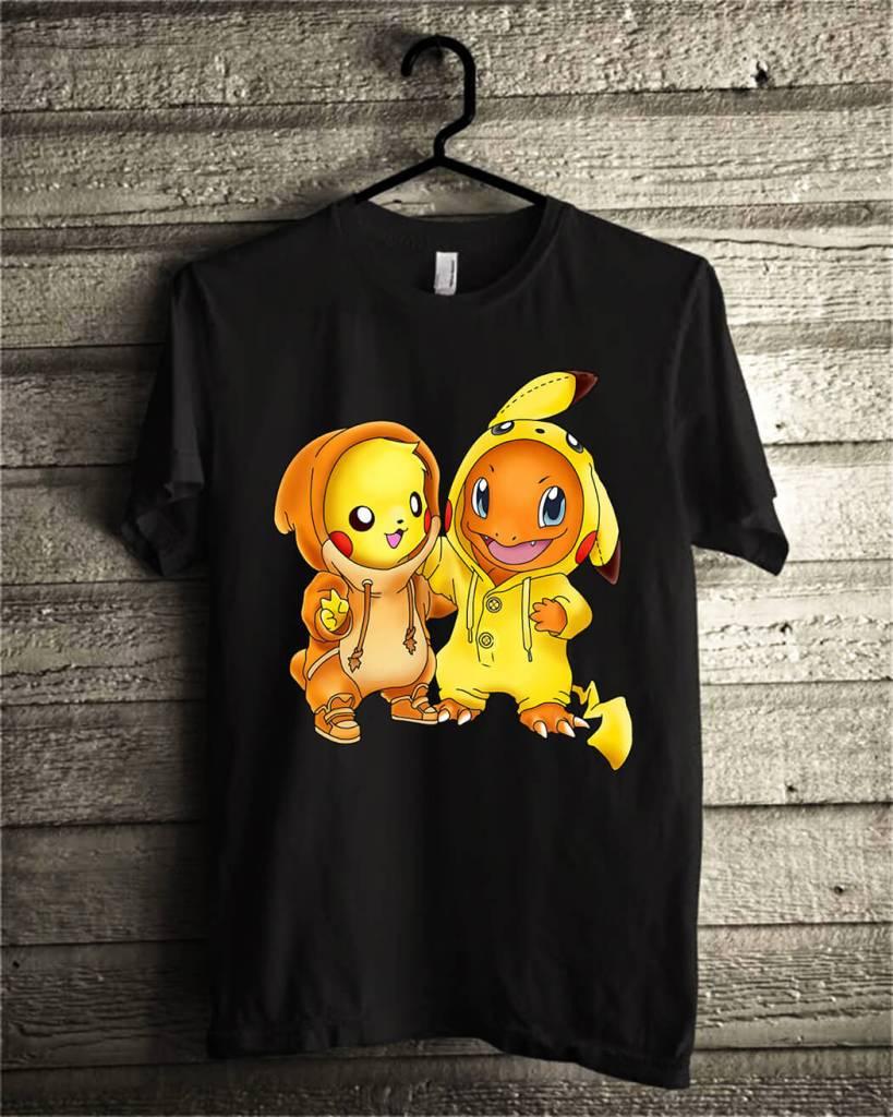 Pikachu and Pikachu Charmander pokemon shirt