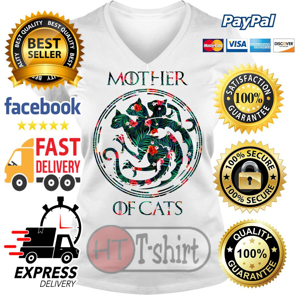 Best Flower mother of cats game of thrones V-neck t-shirt