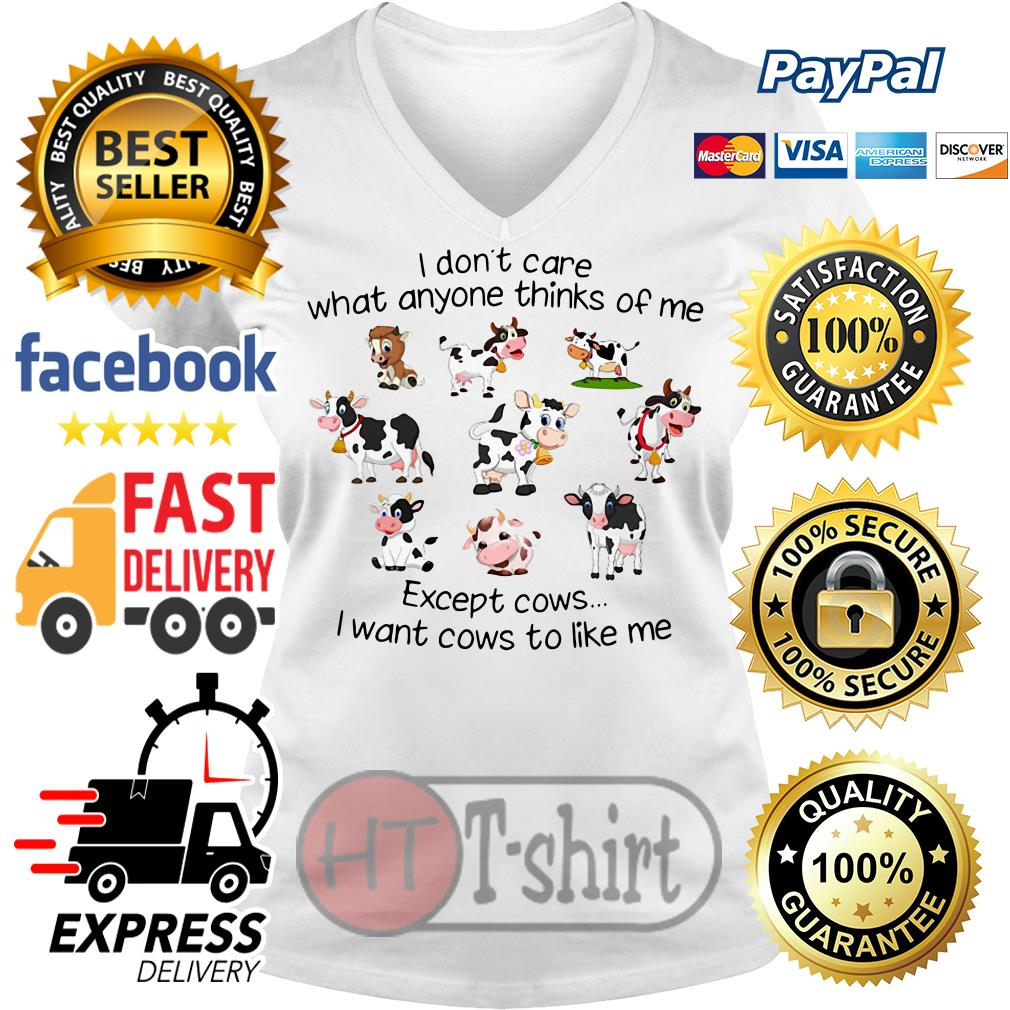 I don't care what anyone thinks of me except cows I want cows to like me V-neck t-shirt