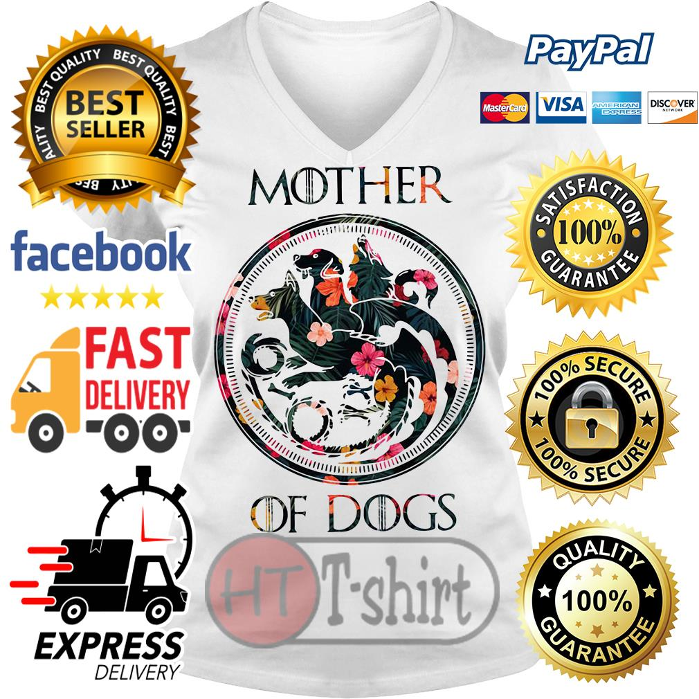 Flower mother of dogs game of Thrones V-neck t-shirt
