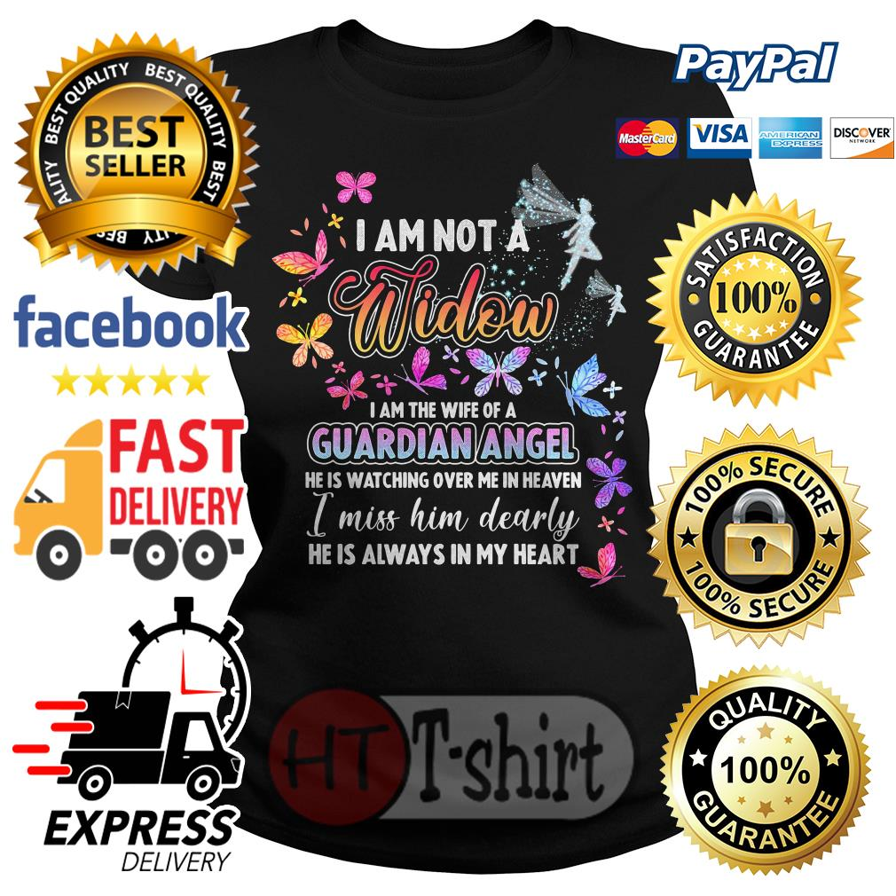I am not a widow I am the wife of a guardian angel he is watching over me in heaven shirt