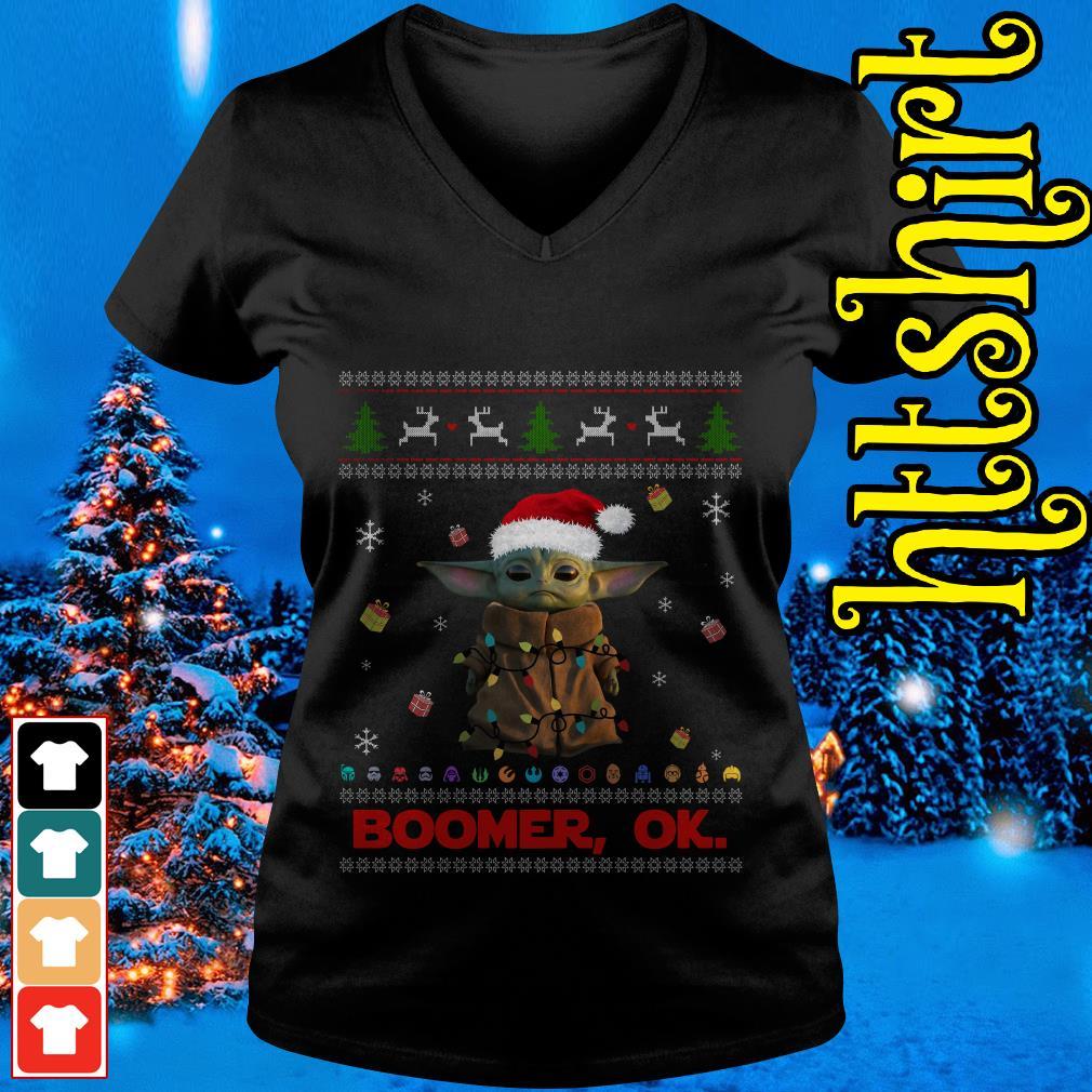 The Mandalorian Baby Yoda Boomer Ok ugly Christmas V-neck t-shirt