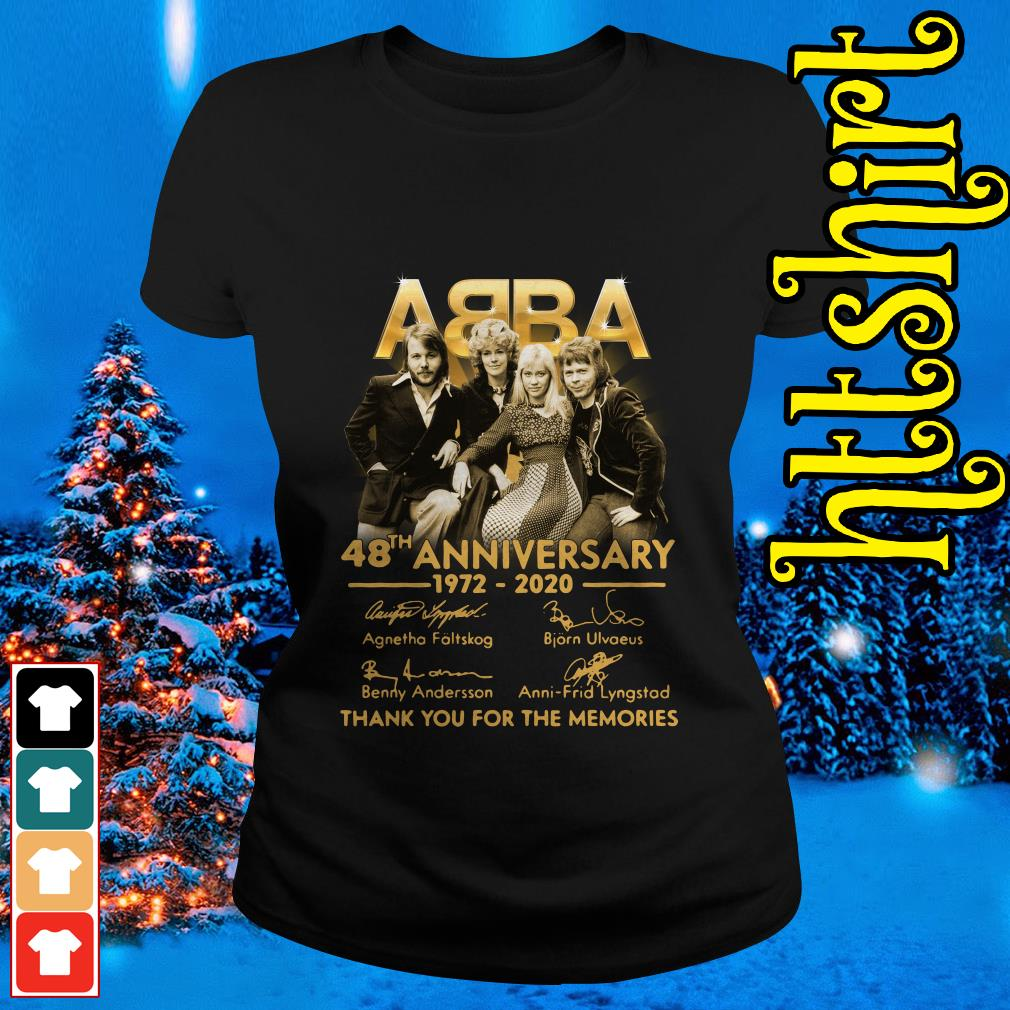 ABBA 48th anniversary 1972-2020 thank you for the memories Ladies tee