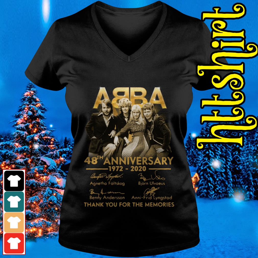 ABBA 48th anniversary 1972-2020 thank you for the memories V-neck t-shirt
