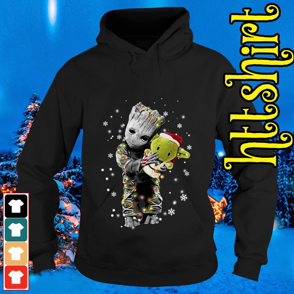 Baby Groot hugging baby Yoda Christmas Hoodie