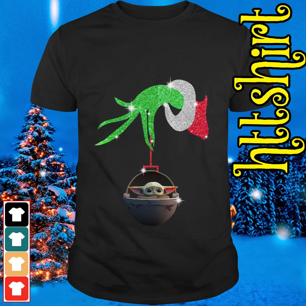 Grinch hand holding Baby Yoda shirt, sweater