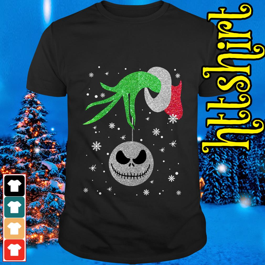Grinch hand holding Jack Skellington Christmas shirt, sweater